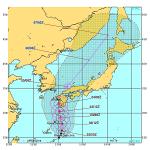 台風12号が九州ー北海道を通過する可能性